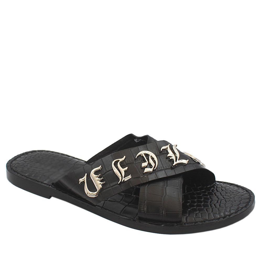 Black Croc Italian Leather Cross Styled Men Slippers