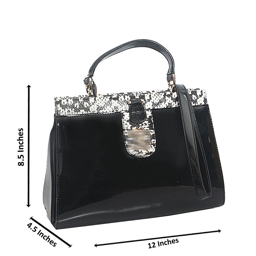 Black White Croc Patent Saffiano Leather Top Handle Handbag