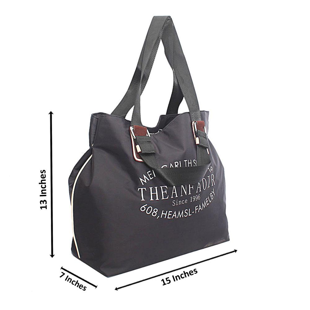 Black Fabric Shoppers Tote Handbag