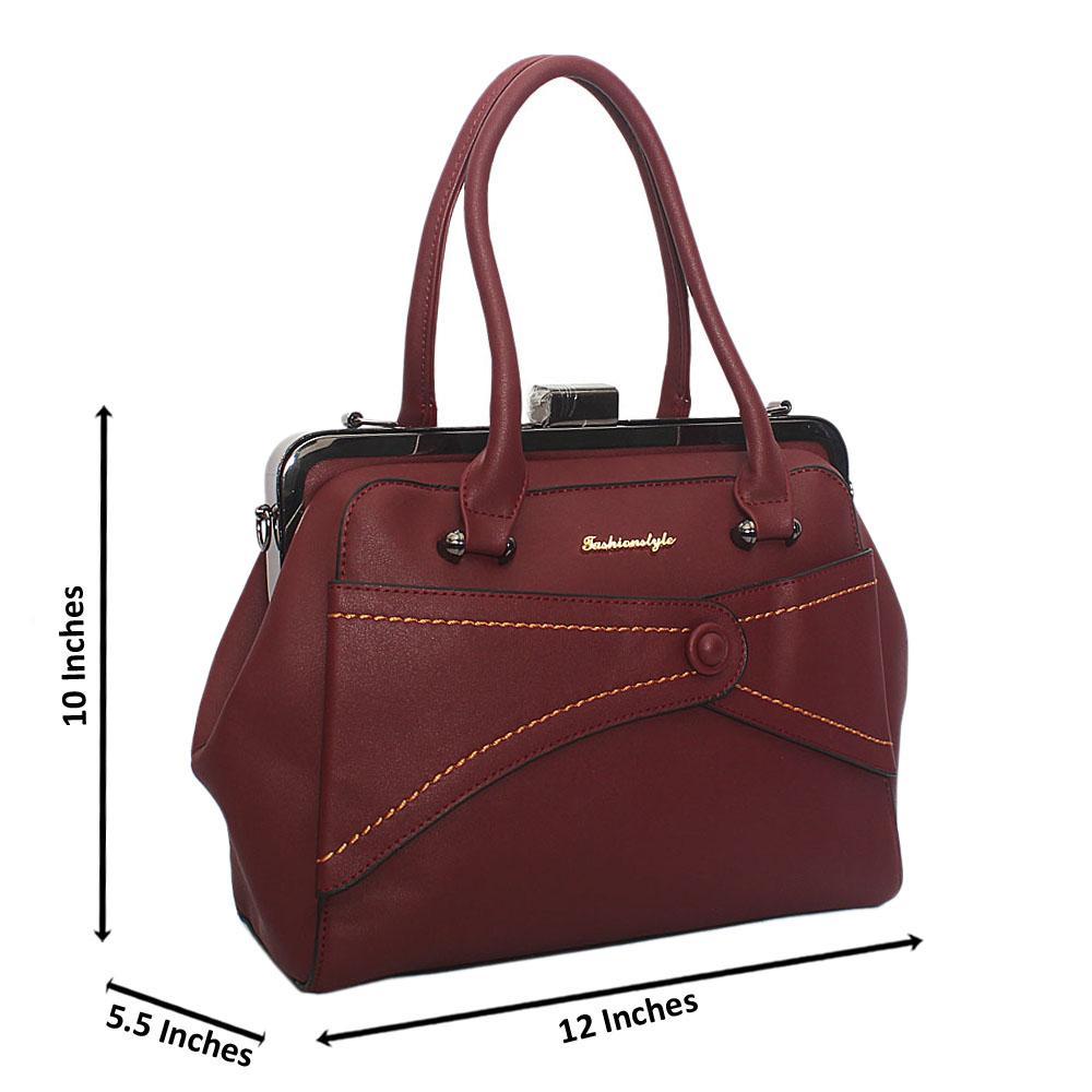 Wine Ellie Leather Tote Handbag