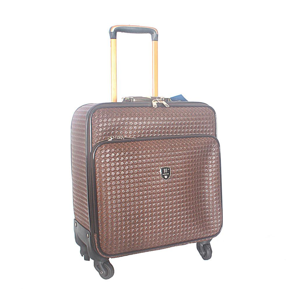 Coffee Woven Style 16 Inch Leather Pilot Suitcase Wt Lock