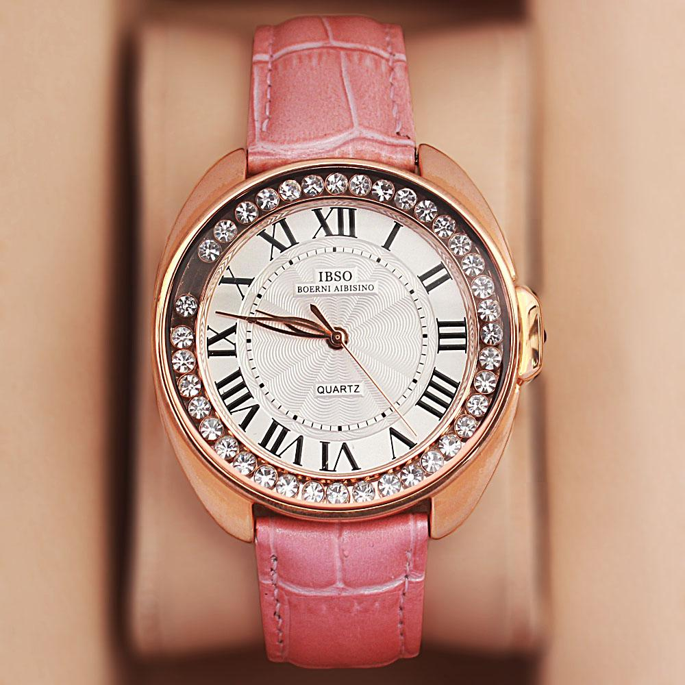 Fellisa Ice Barbie Pink Leather Ladies Watch
