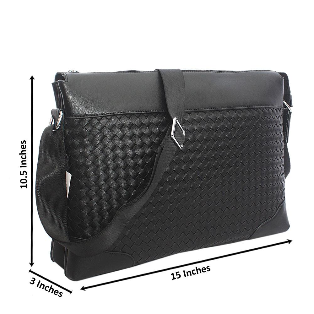 Black Woven Leather Messenger Bag