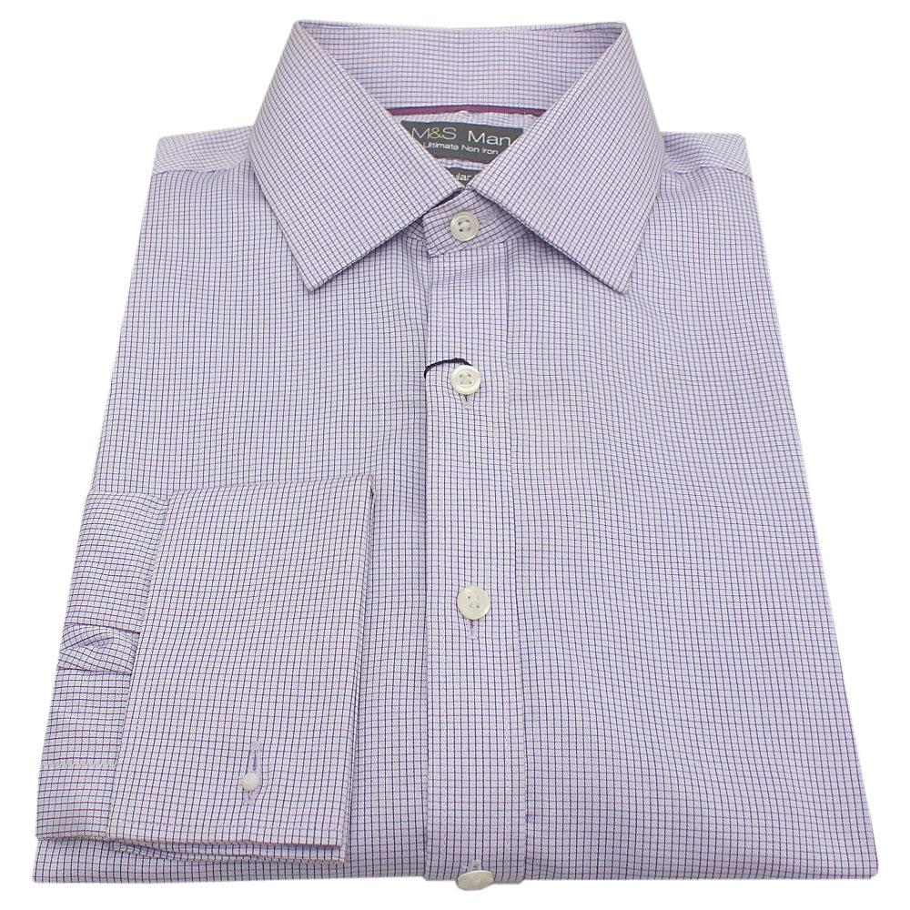 M & S Man Purple Tiny Check Men's L/S Office Shirt wt Cuffs Sz 14.5