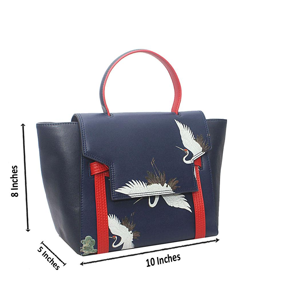 PMSix Blue Goose-Patterned Cow-Leather Single Handle Bag