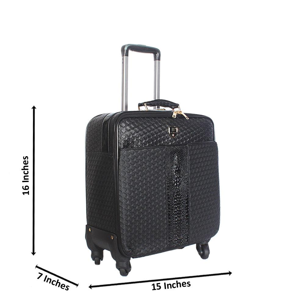 Black Pattern 16 Inch Leather Pilot Suitcase Wt Lock