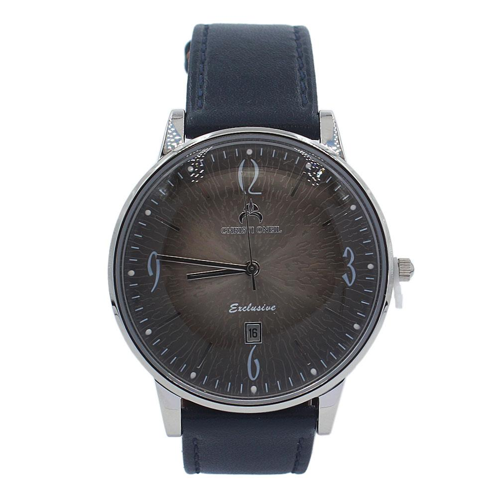 Navy Silver Gold Iconic Leather Flat Watch