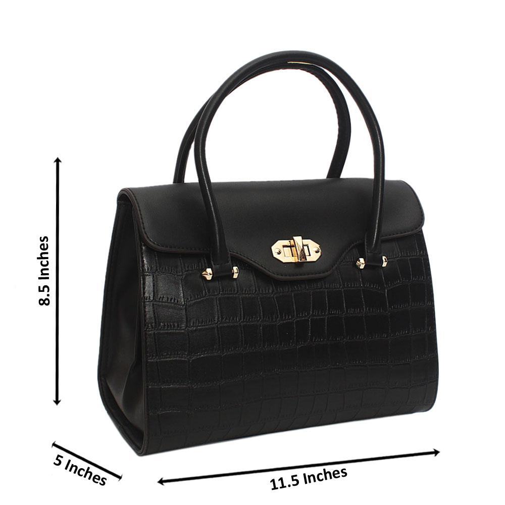 Susen Black Lotti Smooth Leather Tote Handbag