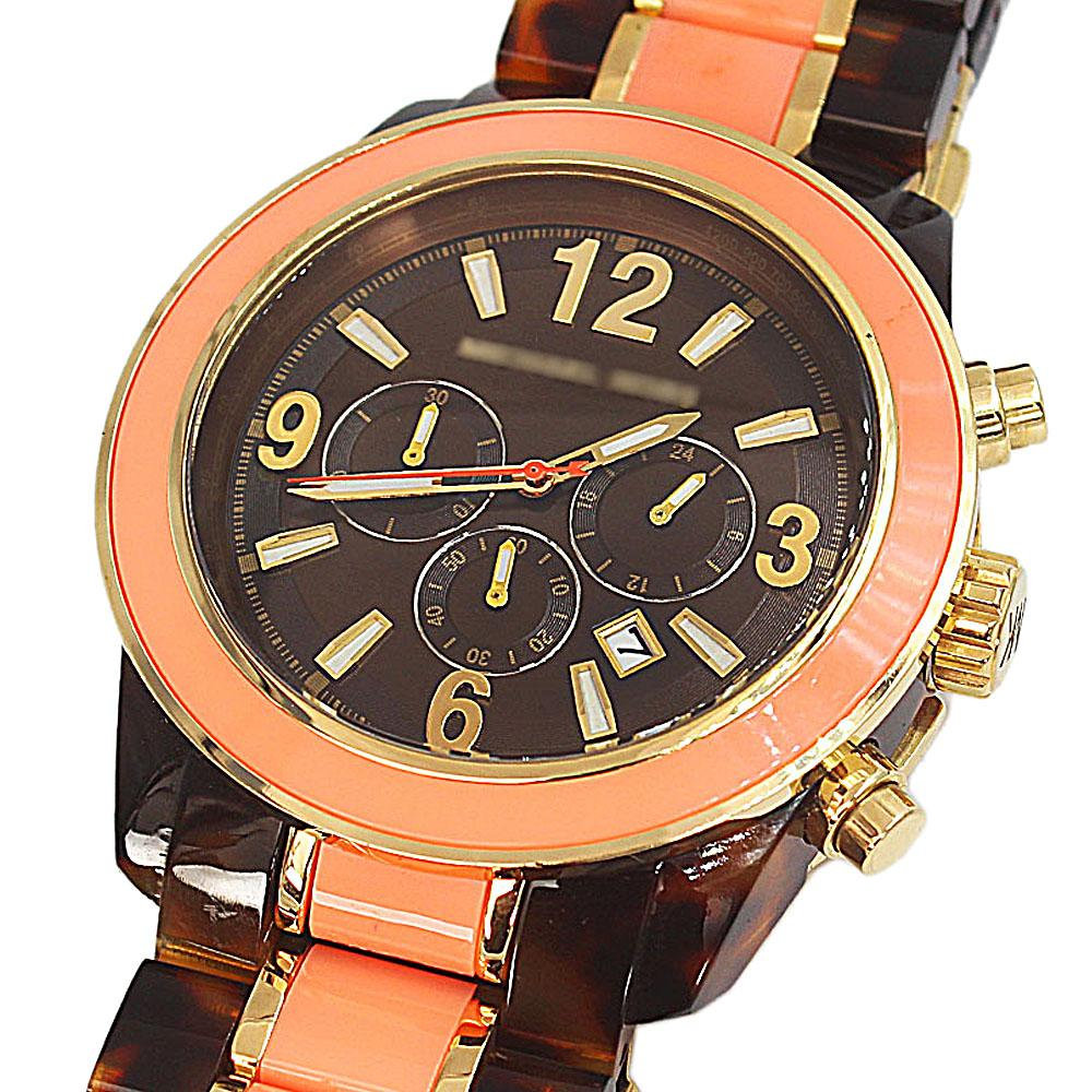 Brown Peach Ceramic Chronograph Men Watch-