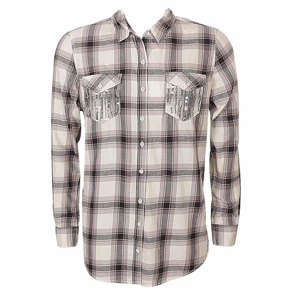 Gray/Cream Bold Check Ladies Casual Shirt Wt Studded Front Pocket-XS