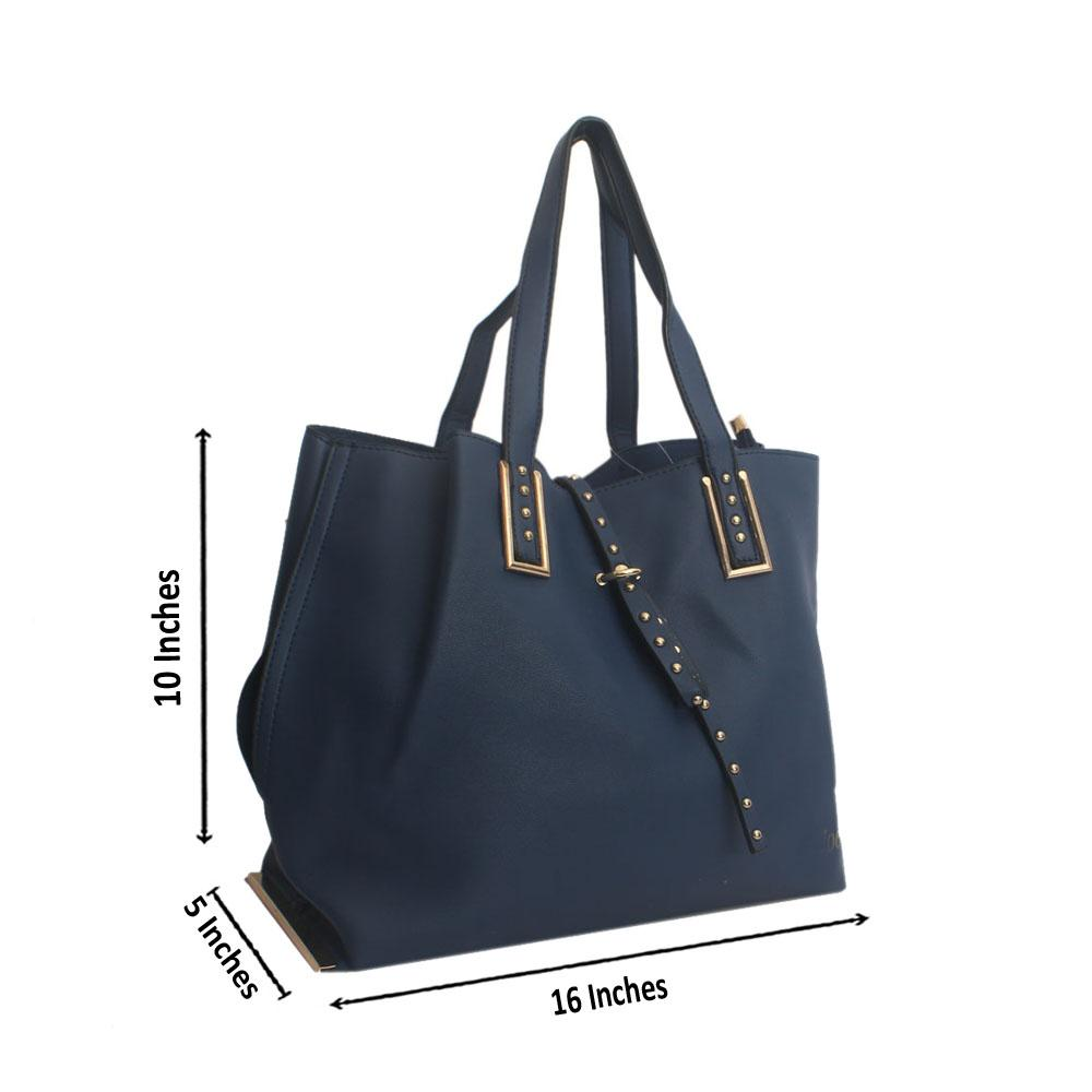 Blue Serial Stud Leather Shoulder Bag