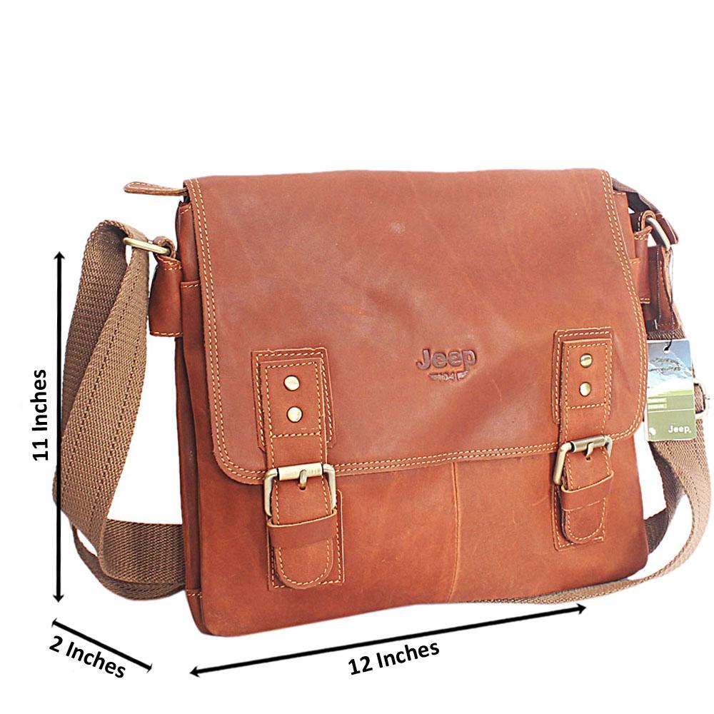 Brown Montana - Leather Medium Messenger Bag