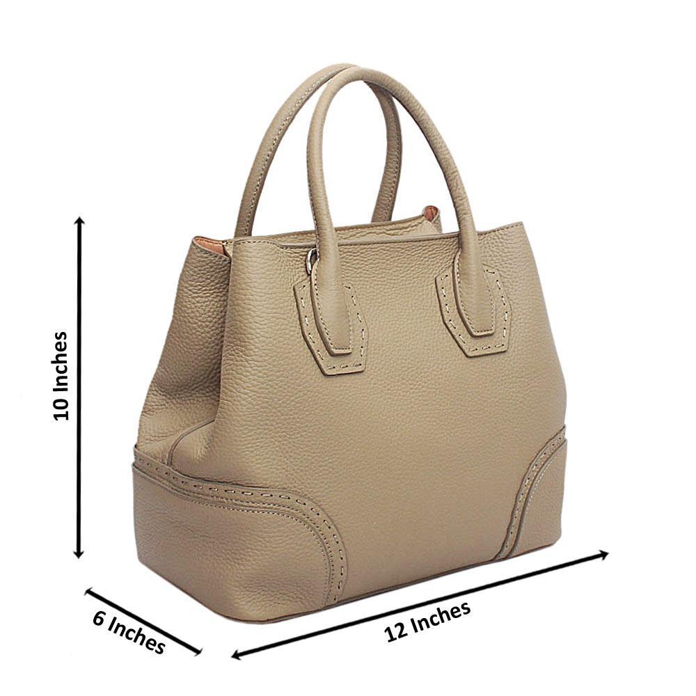 Forstmann Exclusive Khaki Brown Cow-Leather Tote Handbag
