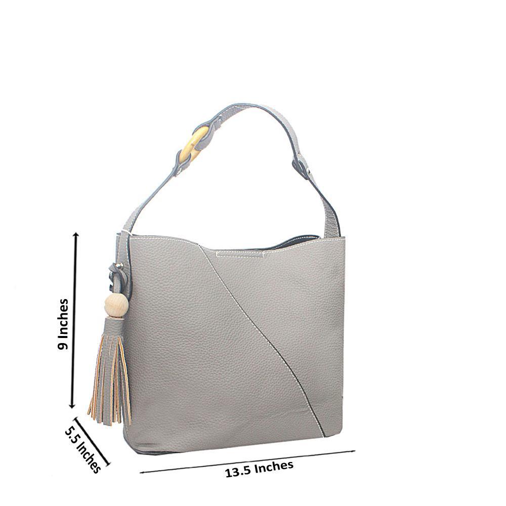 Gray Carmelita Tandy Leather Handbag