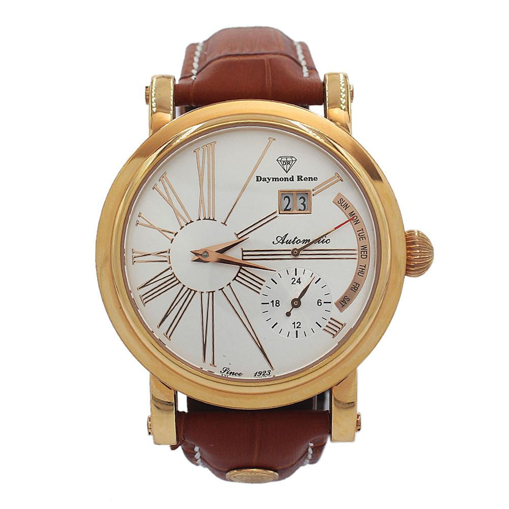 DR 3ATM Rose Gold Brown Leather Luxury Automatic Watch