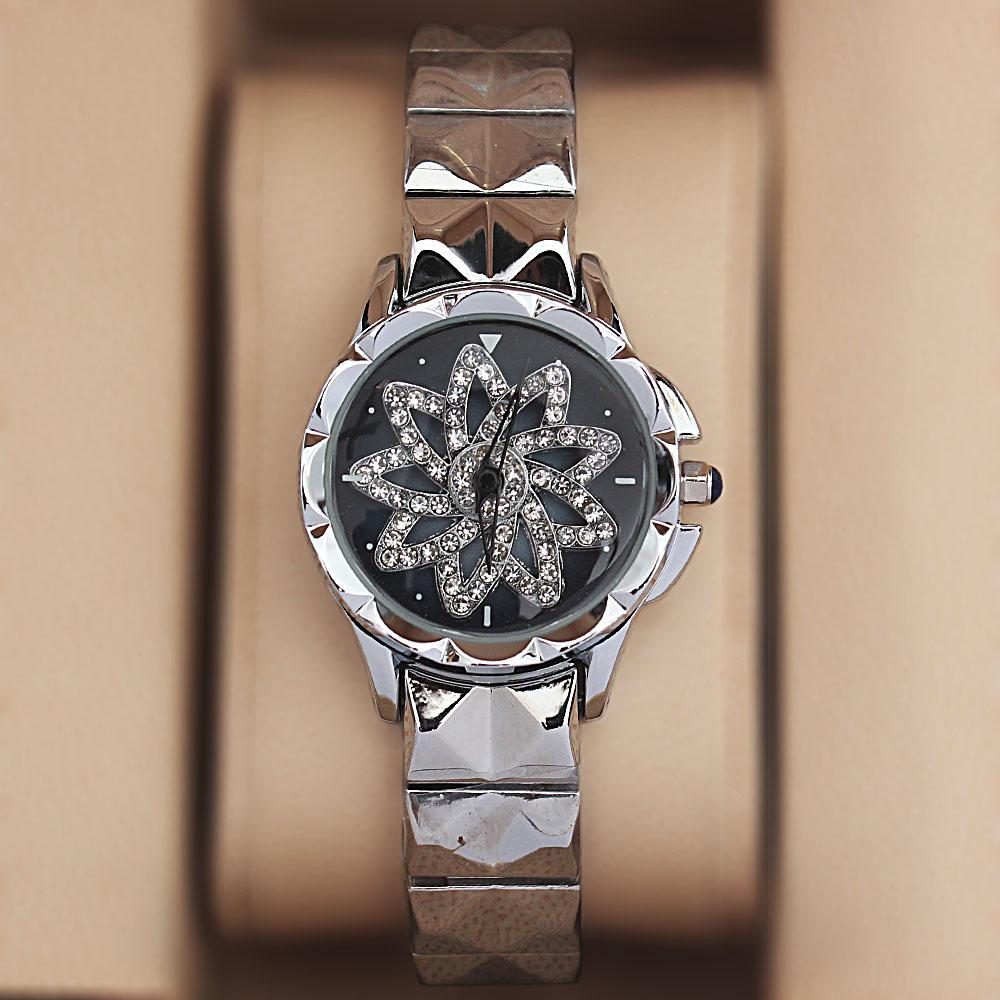 Silver Steel Crystal Studded Spinners Ladies Watch