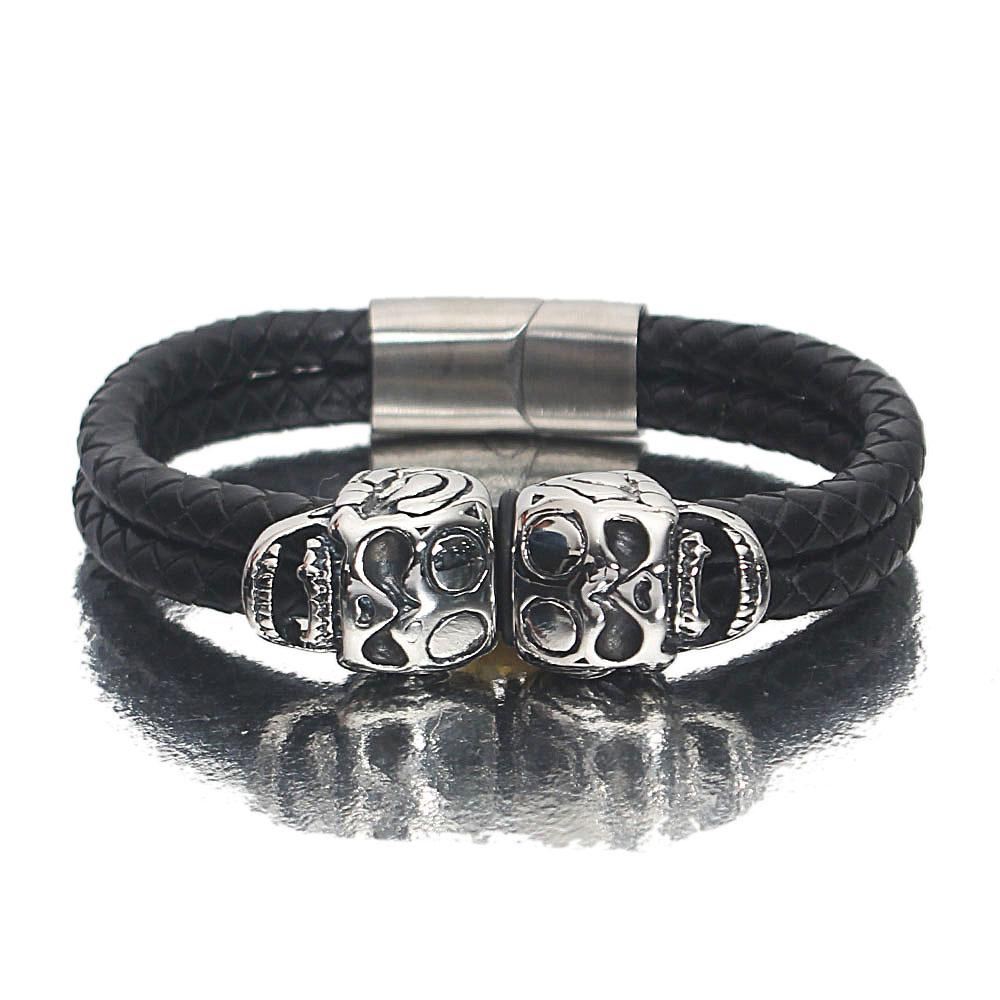 Silver-Black-Skull-Leather-Bracelet