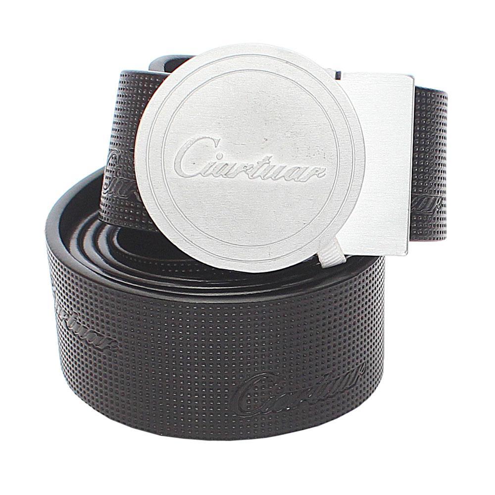 Black Etched Italian Leather Belt L46