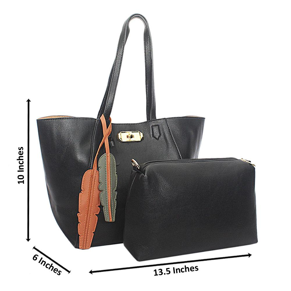 Black Focus Leather Shoulder Handbag