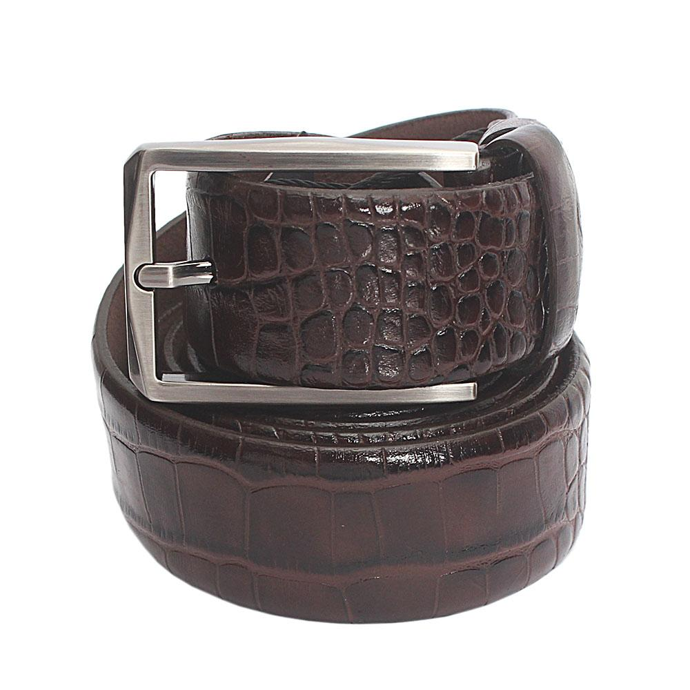 Brown Croc Italian Leather Flat Belt L 51 Inches