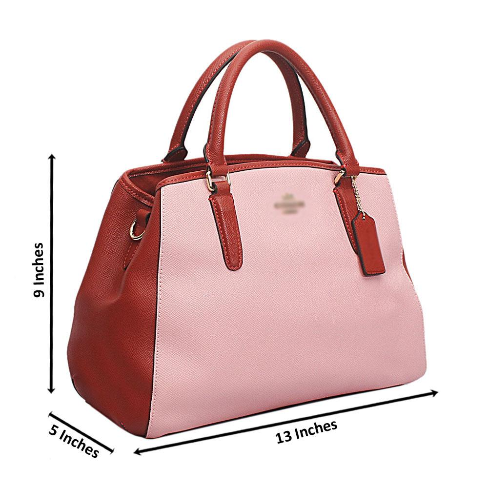 Brown Pink  Cahier Saffiano Leather Tote Handbag