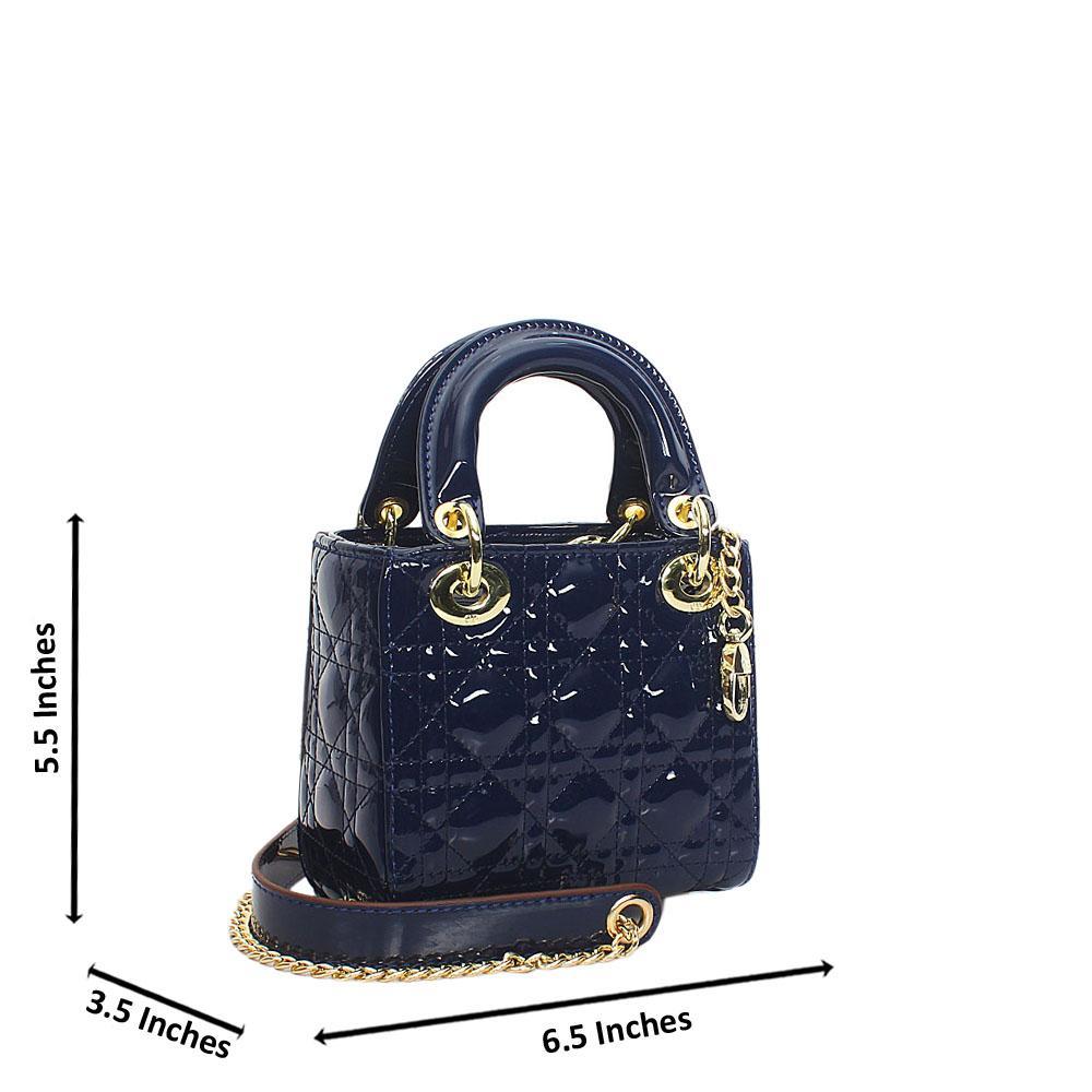 Navy Floxy Patent Leather Mini Tote Handbag