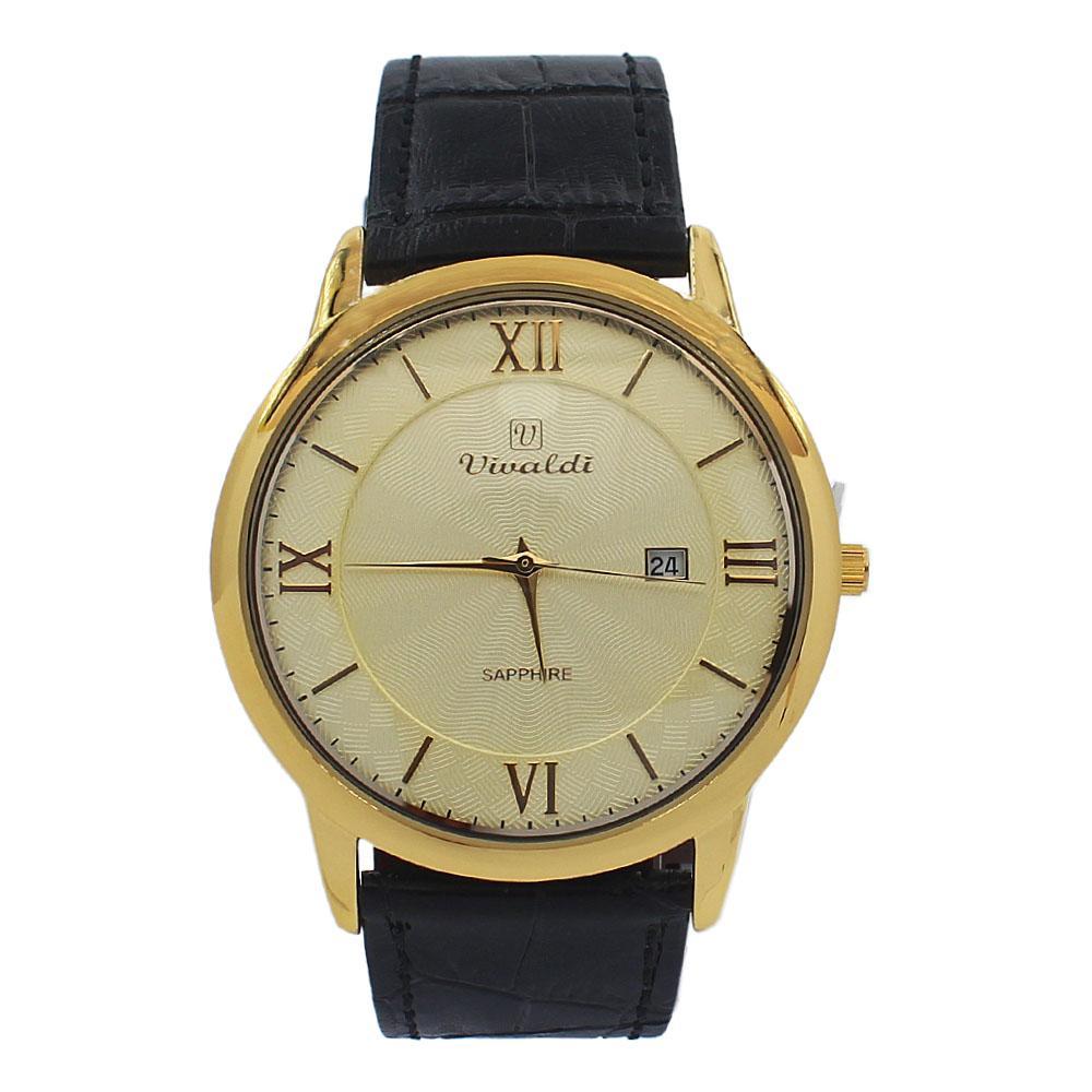Black Gold Vintage Leather Flat Watch