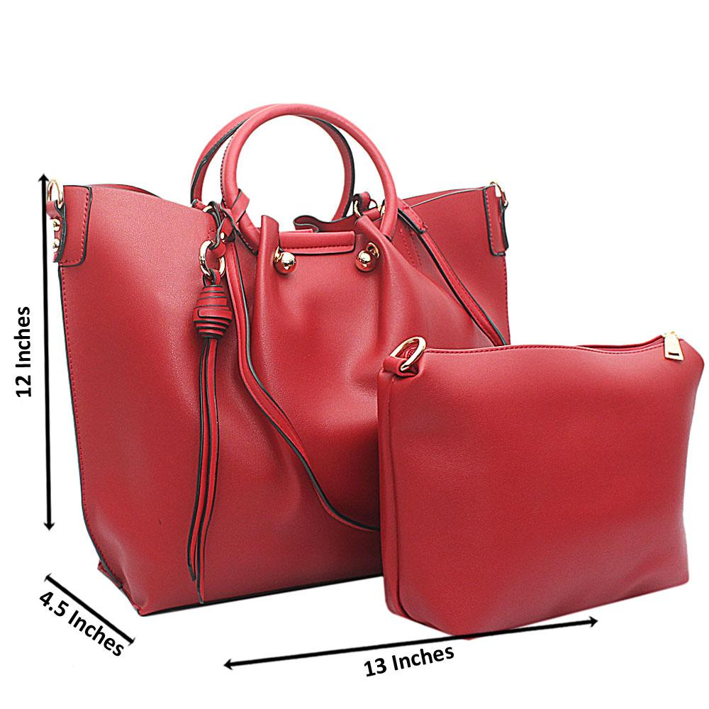 Red Leather Handbag Wt Purse