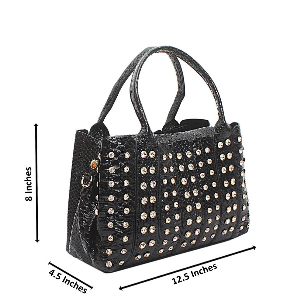 Black Studded Party-Mix Leather Handbag