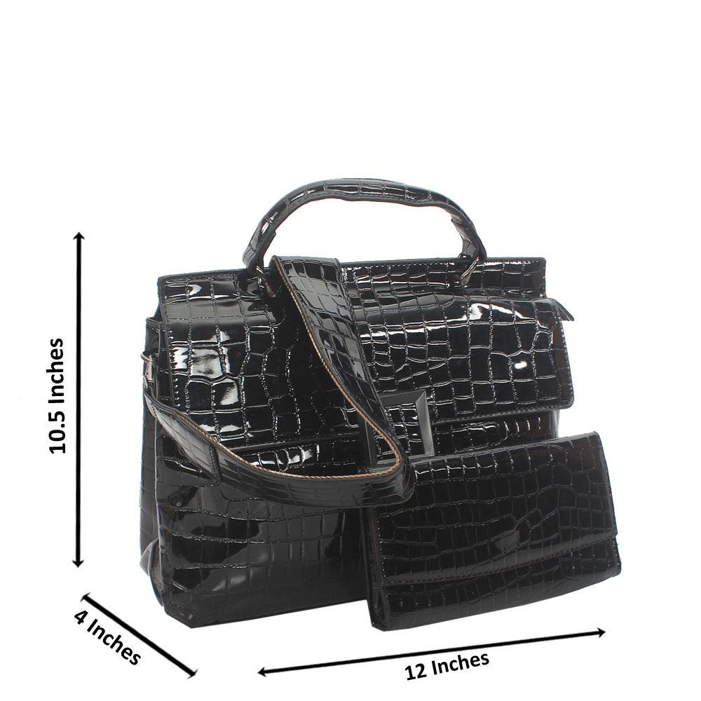 Black Croc Leather Birkin Top Handle Handbag
