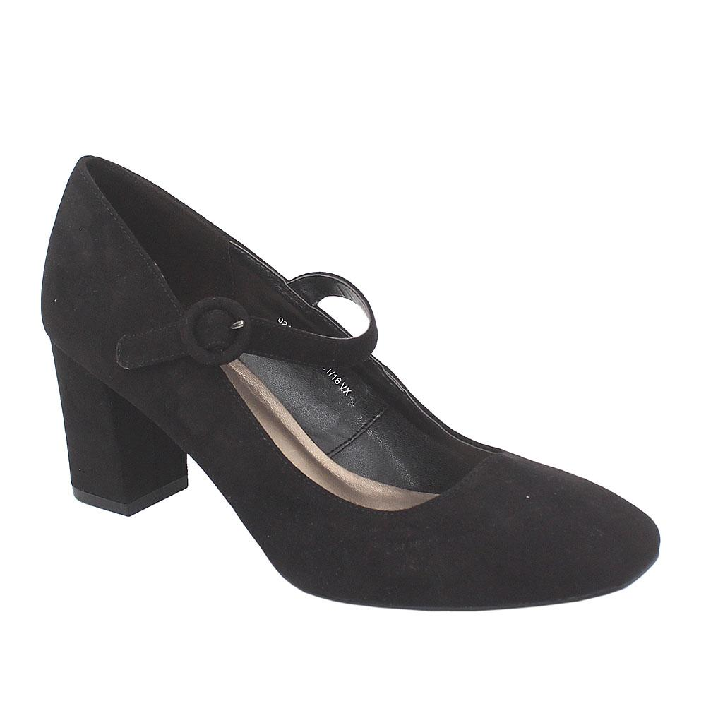 M&S Collection Black Suede Leather Ladies Heel Shoe