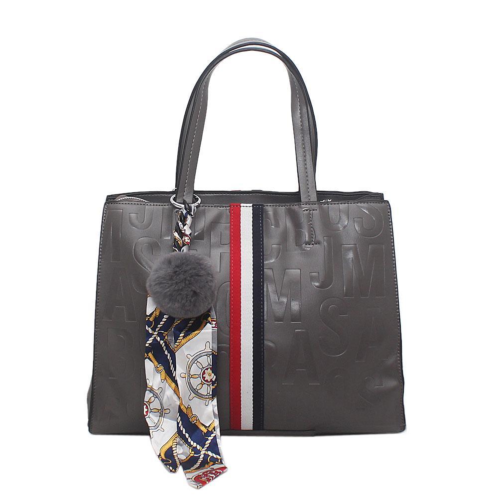 London Style Grey Leather Medium Tote Bag