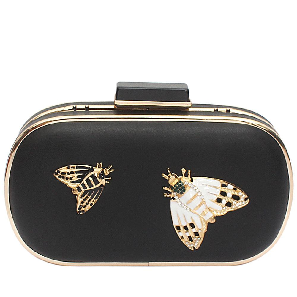Black Leather Butterfly Premium Hard Clutch