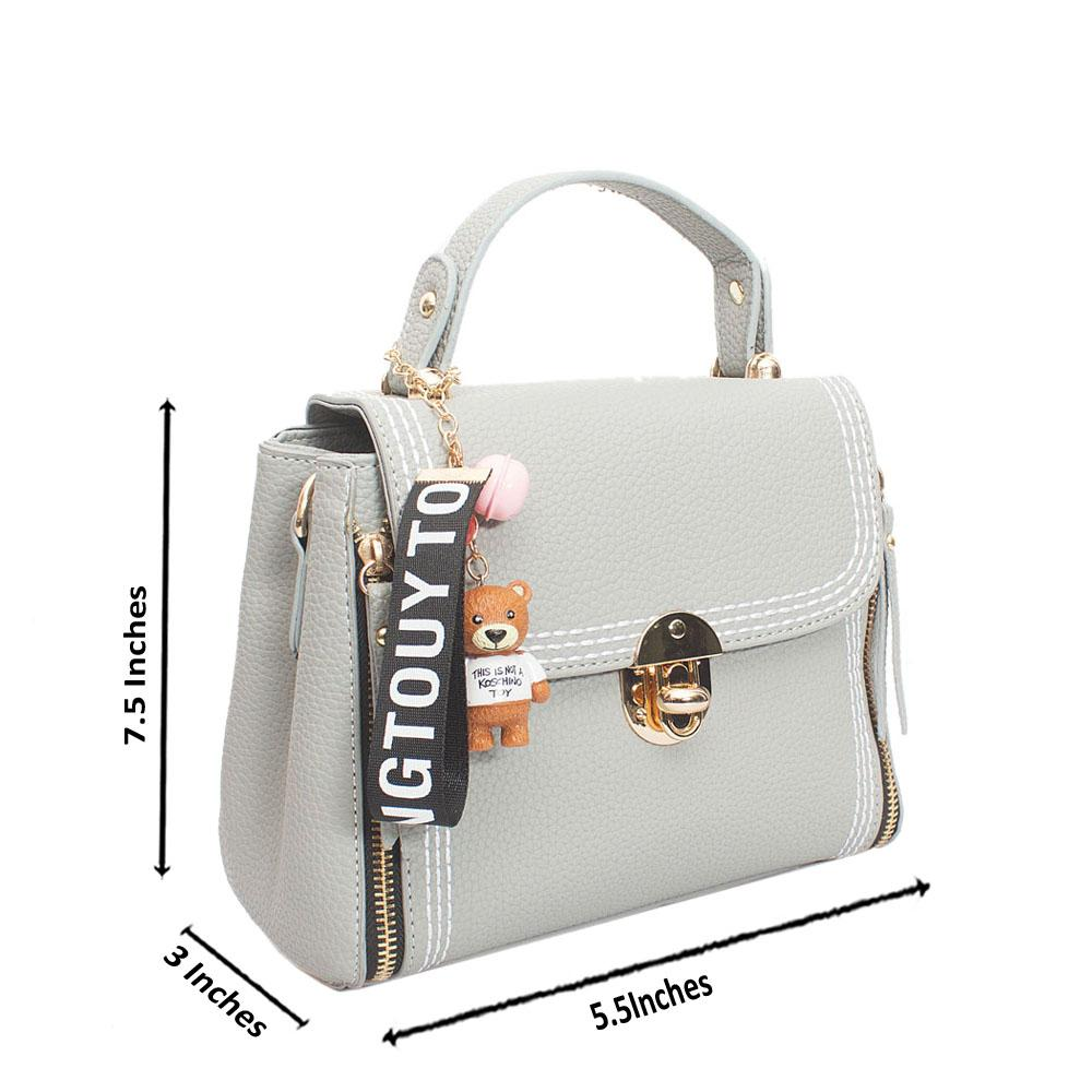 Gray Leather Tongtouy Charm Mini Handle Bag