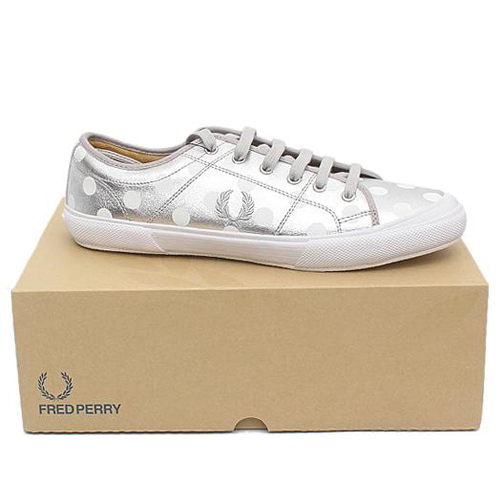Fred Perry Metallic Silver White Lace Up Men Sneakers-Sz 45