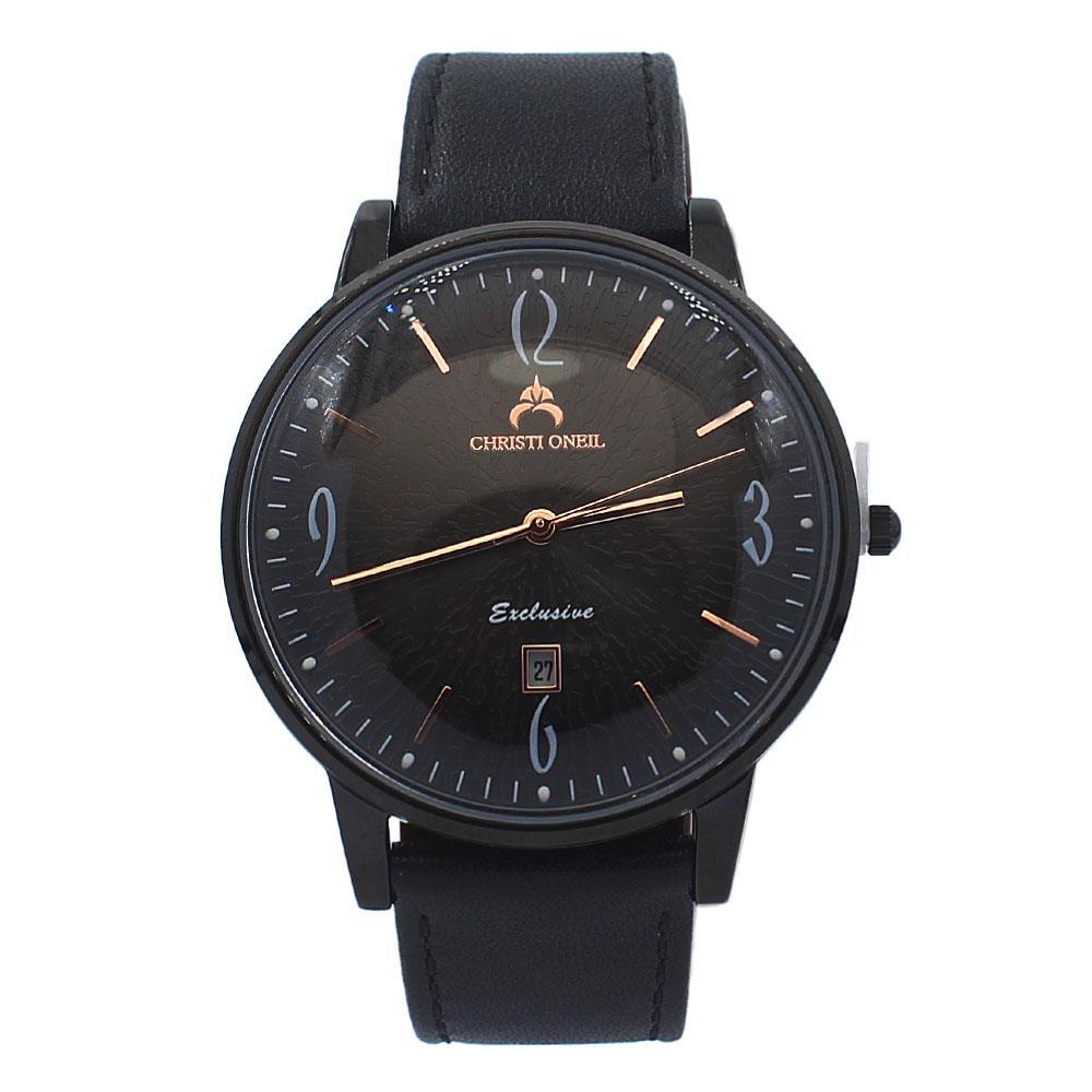 Black Iconic Leather Flat Watch