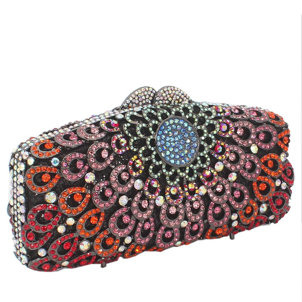 Red Multicolor Diamante Crystal Clutch Purse