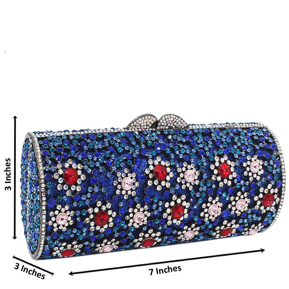 Blue Mix Scroll Diamante Crystals Clutch Purse