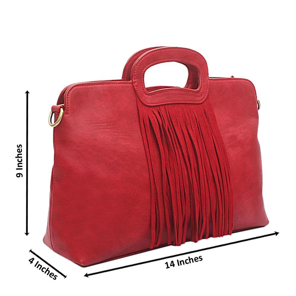 London Style Red Leather Handbag
