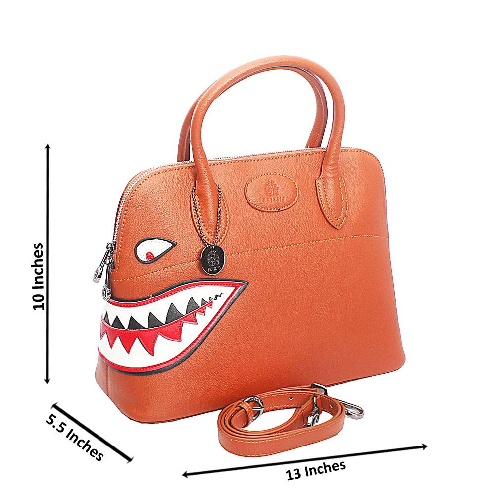 Baizili Brown Dual Style Italian Leather Tote Handbag