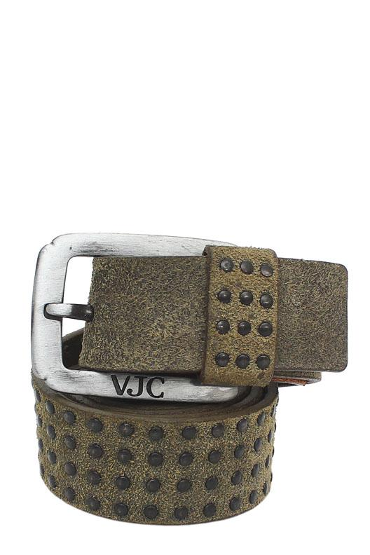 VJC Army Green Genuine Leather Men Belt