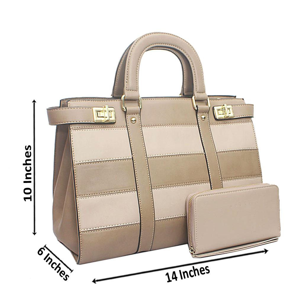 Susen Khaki Square Leather Handbag
