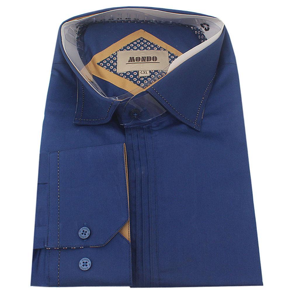 Mondo Blue Cotton L/Sleeve Slim Fit Men Shirt