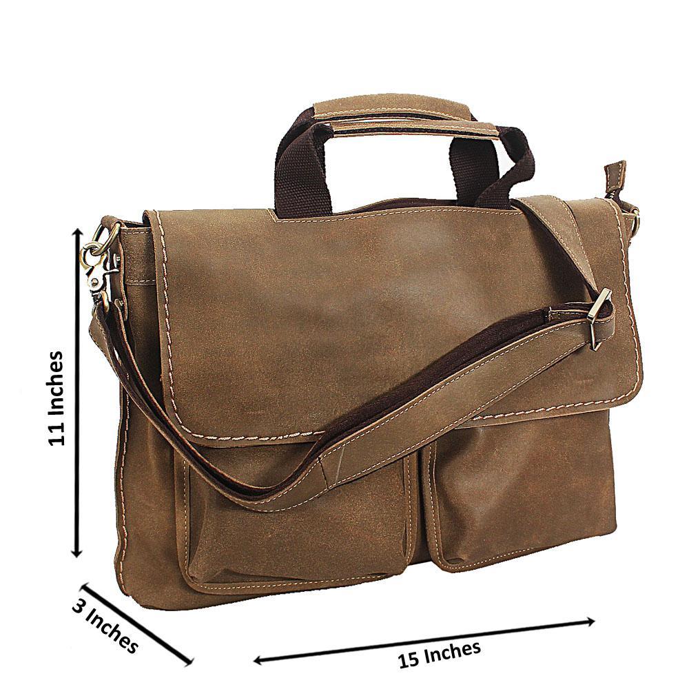 Khaki Destressed Leather Briefcase