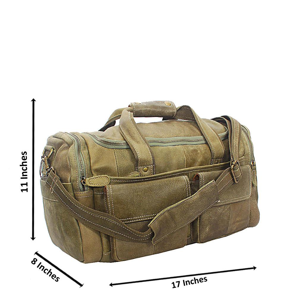 Army Green Cowhide Leather Duffel Bag