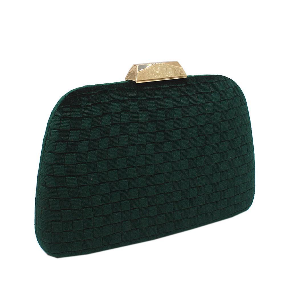 Green Corduroy Fabric Clutch Purse