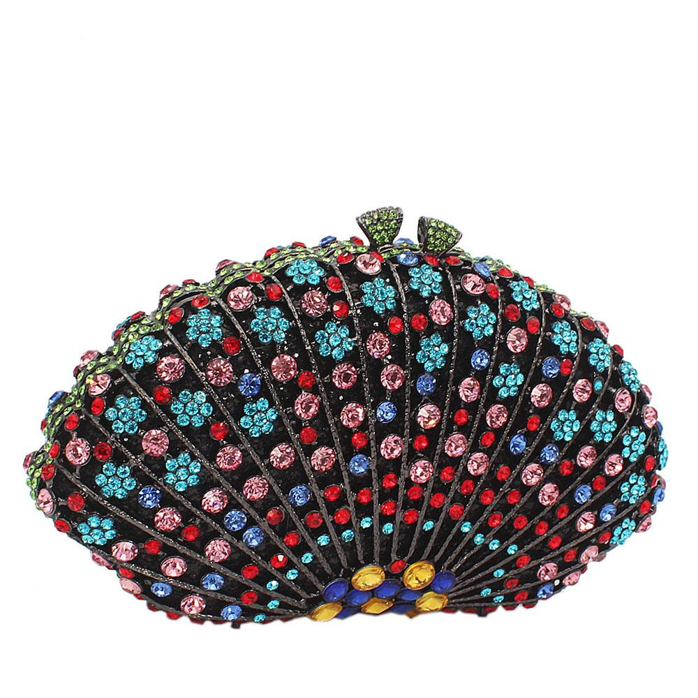 Multicolor Dots Embelished Diamante Crystals Clutch Purse