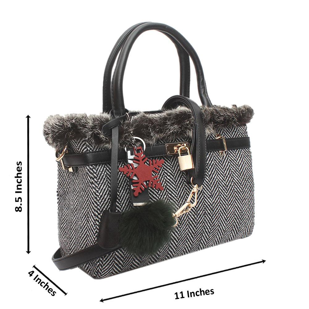 Black Stripe Furry Medium Tote Handbag