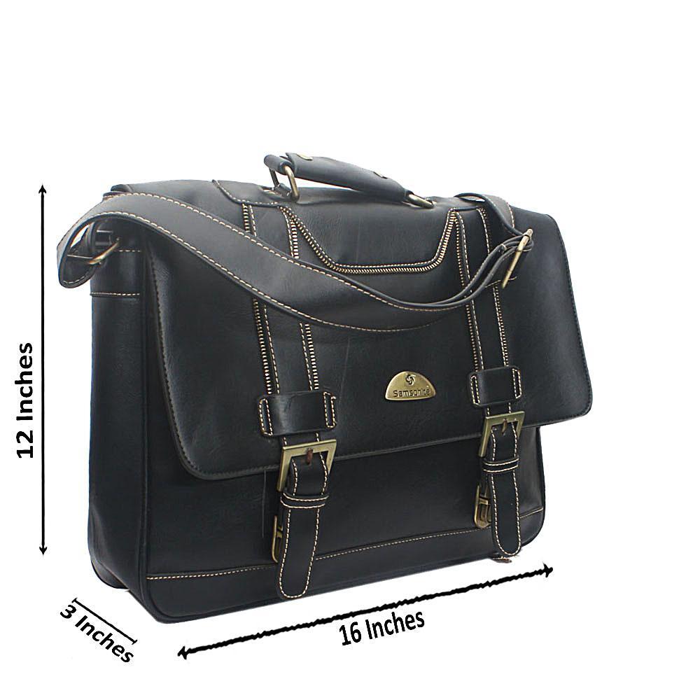 Samsonite Black Leather Messenger Bag