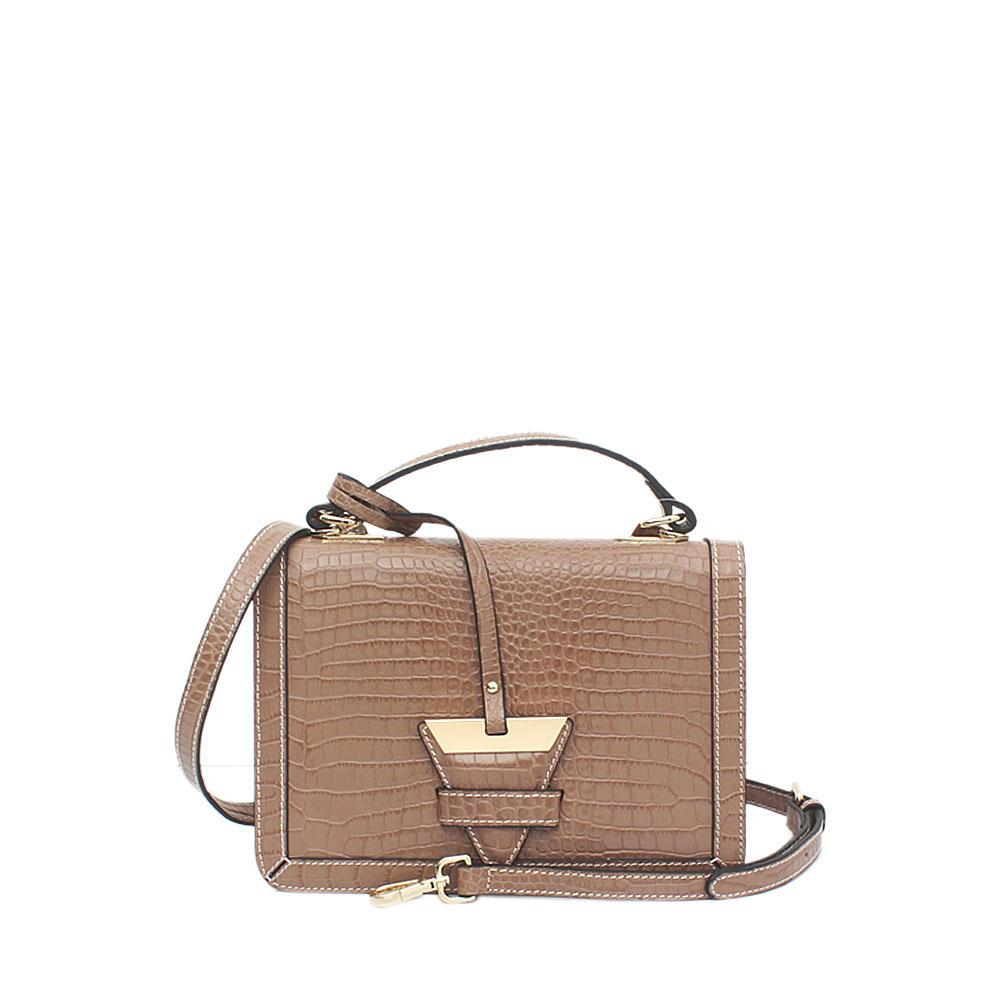 Rose Graphite Khaki Croc Saffiano Leather Small Handle Bag